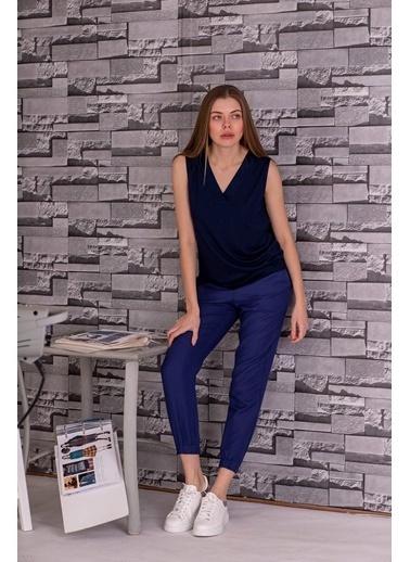 Stamina  Bayan V Yaka Kolsuz Bluz-5VS05 Lacivert